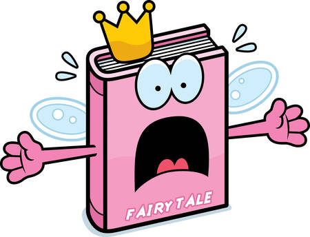 A cartoon illustration of a fairy tale looking scared. Illustration