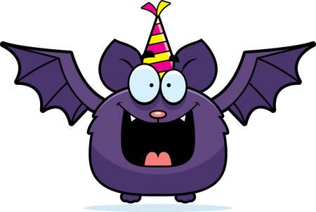 행복을 찾고 파티 모자와 박쥐의 만화 그림.
