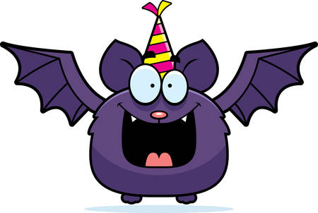 A cartoon illustration of a bat with a party hat looking happy.