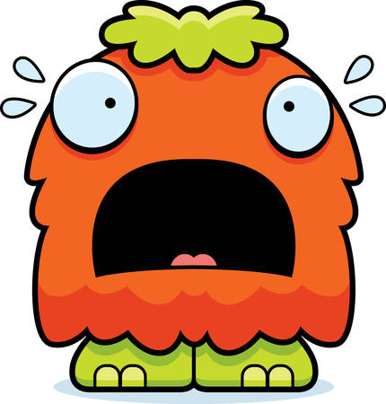 A cartoon illustration of a fluffy monster looking scared.