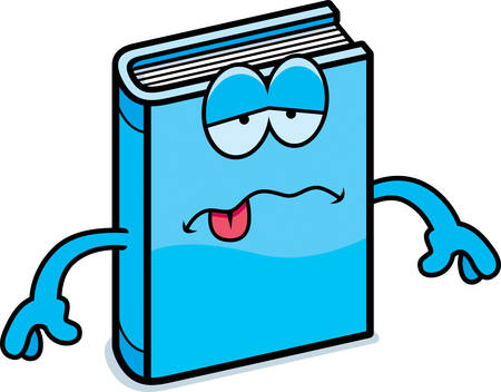 nauseous: A cartoon illustration of a book looking sick. Illustration