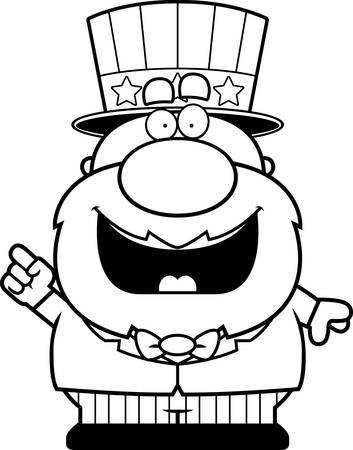 A cartoon illustration of a patriotic man with an idea.