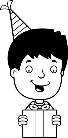 teenage boy: A cartoon illustration of a teenage boy with a birthday present. Illustration