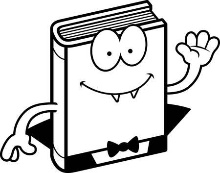 graphic novel: A cartoon illustration of a horror novel waving.