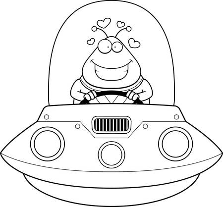 spacesuit: A cartoon illustration of an alien in a UFO in love. Illustration