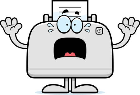 desktop printer: A cartoon illustration of a printer looking scared. Illustration
