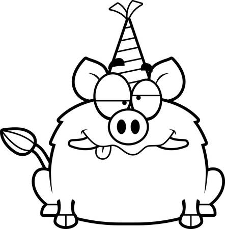 impaired: A cartoon illustration of a boar with a party hat looking drunk.