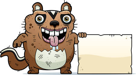monstrous: A cartoon illustration of an ugly chipmunk with a sign.