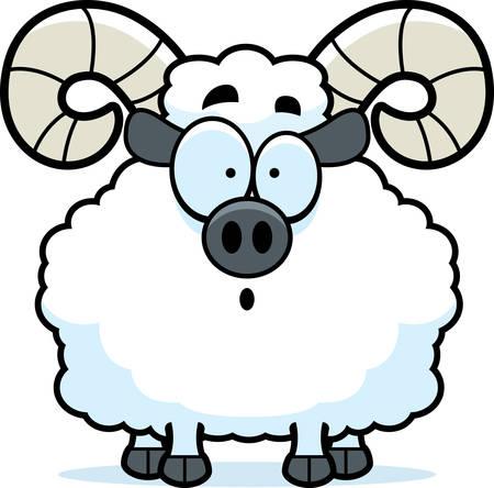 A cartoon illustration of a ram looking surprised. Illustration