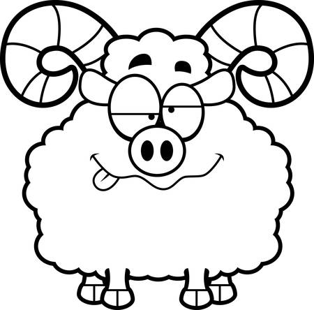 impaired: A cartoon illustration of a ram looking drunk.
