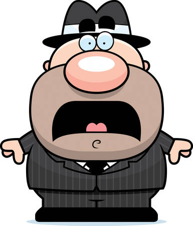 mobster: A cartoon illustration of a mobster looking scared.