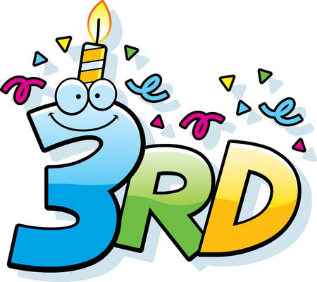 third birthday: A cartoon illustration of the text 3rd with a birthday candle and confetti.