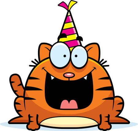 smirking: A cartoon illustration of a cat with a party hat looking happy.