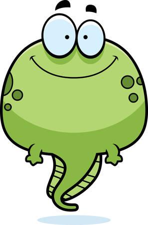 tadpole: A cartoon illustration of a tadpole smiling.