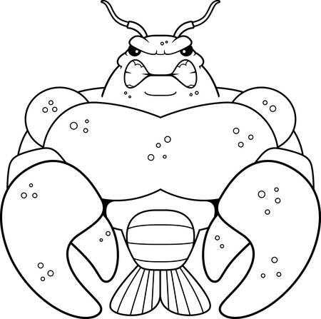 crawfish: A cartoon illustration of a muscular crawfish looking angry. Illustration