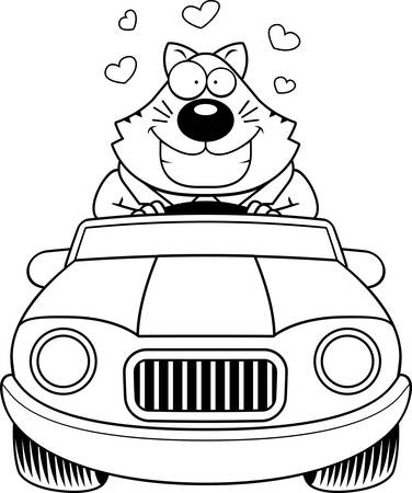 cat suit: A cartoon illustration of a fat cat in love driving a car.