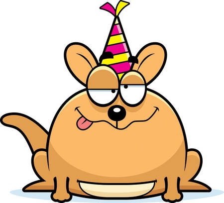 pouch: A cartoon illustration of a little kangaroo with a party hat looking drunk. Illustration