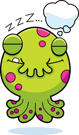 though: A cartoon illustration of a little monster dreaming. Illustration