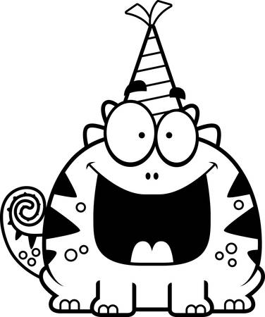 A cartoon illustration of a lizard with a party hat looking happy.