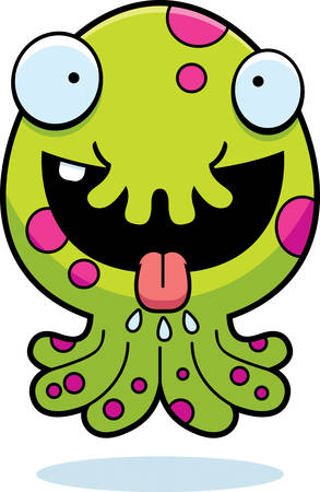 salivating: A cartoon illustration of a little monster looking hungry.