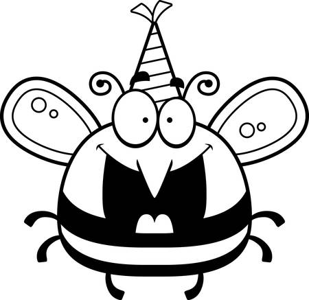 bee party: A cartoon illustration of a bee with a party hat looking happy. Illustration