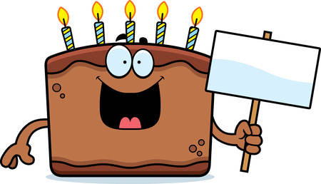 A cartoon illustration of a birthday cake holding a sign.