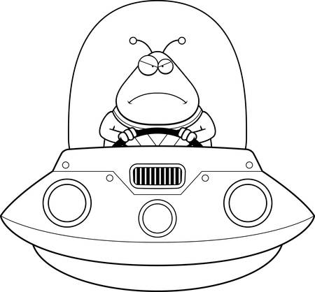 spacesuit: A cartoon illustration of an alien in a UFO looking angry.