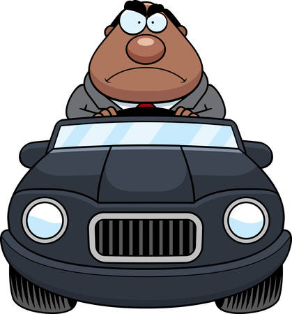 road rage: A cartoon illustration of a businessman driving a car with an angry expression. Illustration