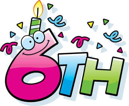 sixth birthday: A cartoon illustration of the text 6th with a birthday candle and confetti. Illustration