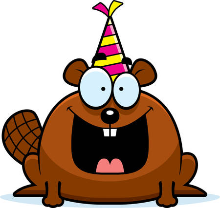 smilling: A cartoon illustration of a beaver with a party hat looking happy.