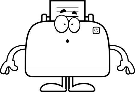 desktop printer: A cartoon illustration of a printer looking surprised. Illustration