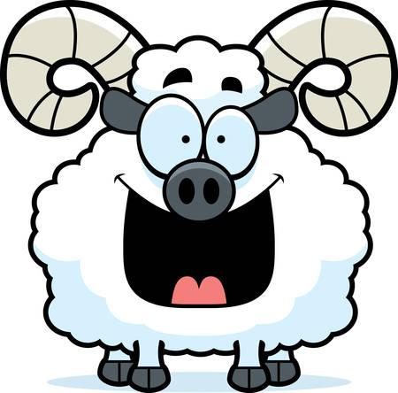 smirking: A cartoon illustration of a ram looking happy. Illustration
