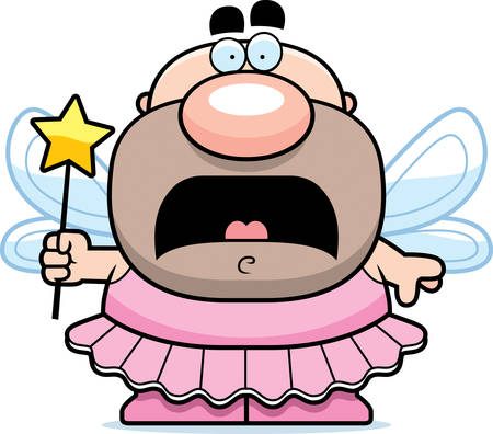 tooth fairy: A cartoon illustration of the Tooth Fairy looking scared.