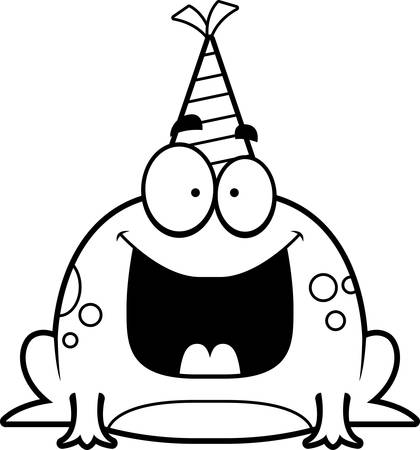 smirking: A cartoon illustration of a frog with a party hat looking happy. Illustration