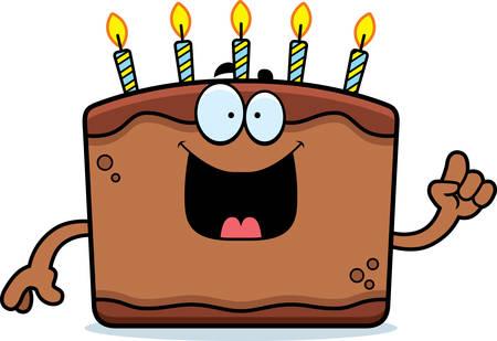 A cartoon illustration of a birthday cake with an idea. Illustration