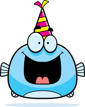 A cartoon illustration of a fish with a party hat looking happy.