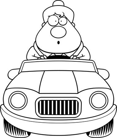 A cartoon illustration of a businesswoman driving a car and looking surprised.