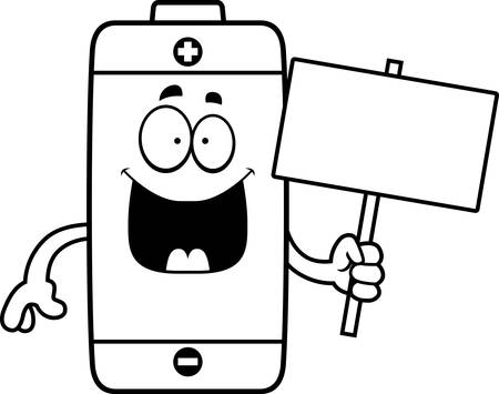 A cartoon illustration of a battery holding a sign.