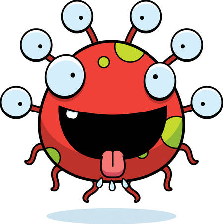 A cartoon illustration of an eyeball monster looking hungry.