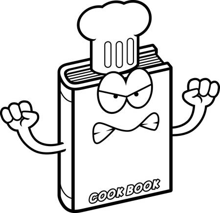 A cartoon illustration of a cookbook looking angry. Ilustracja