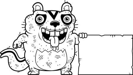 ardilla: Un ejemplo de la historieta de un chipmunk fea con un signo.