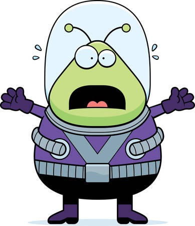 spacesuit: A cartoon illustration of an alien looking scared. Illustration