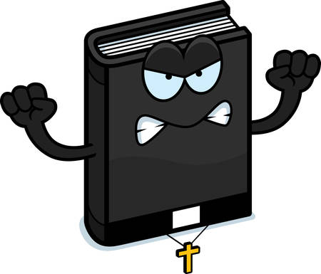minister: A cartoon illustration of a bible looking angry.