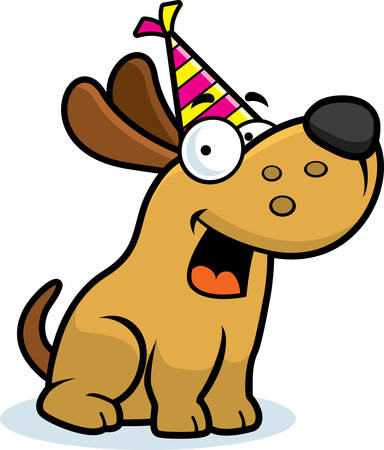 A cartoon illustration of a little dog with a party hat on.