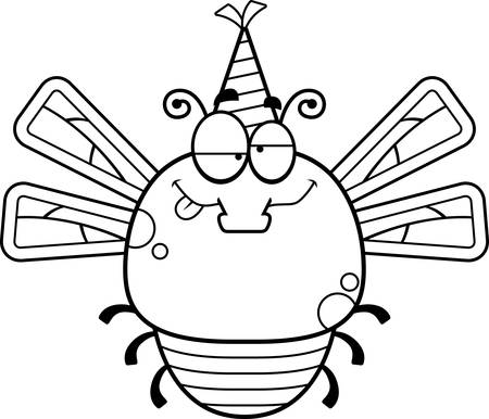 impaired: A cartoon illustration of a dragonfly with a party hat looking drunk. Illustration