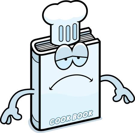 A cartoon illustration of a cookbook looking sad. Ilustracja