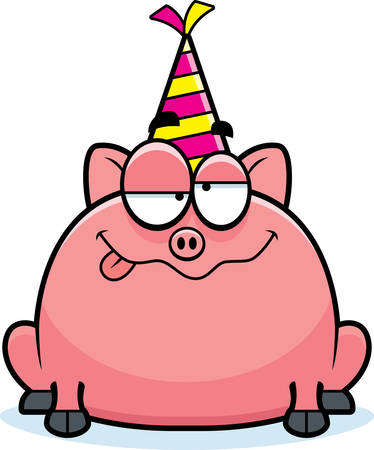 A cartoon illustration of a little pig with a party hat looking drunk.