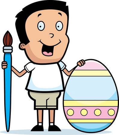 decorating: A cartoon illustration of a boy painting an Easter egg.