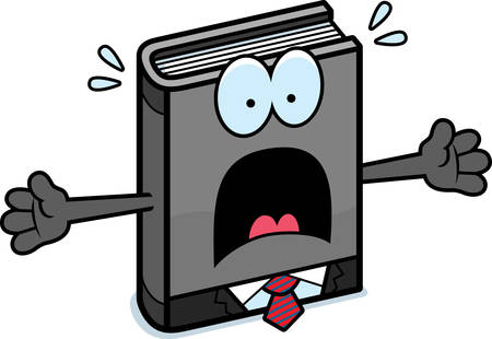 art book: A cartoon illustration of a business book looking scared.