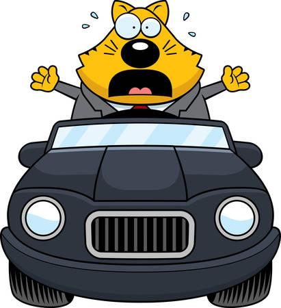 driving a car: Un ejemplo del dibujo animado de un gato gordo que conduce un coche y entrar en p�nico.